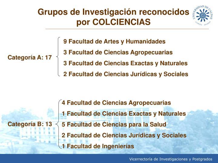 Grupos de Investigación reconocidos por COLCIENCIAS