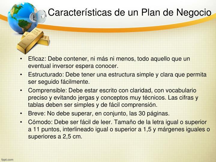 Características de un Plan de Negocio