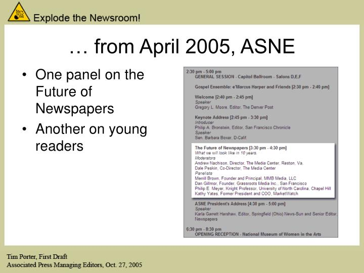 … from April 2005, ASNE