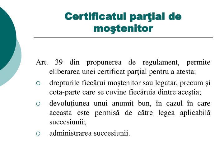 Certificatul parţial de moştenitor