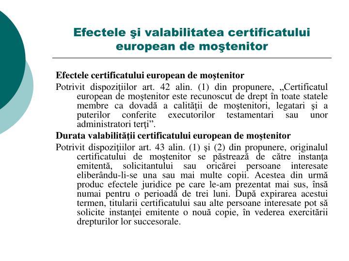 Efectele şi valabilitatea certificatului european de moştenitor