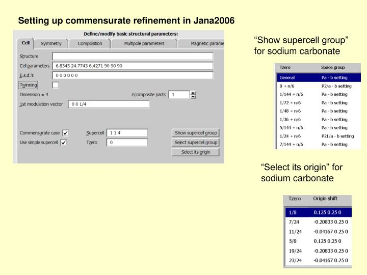 Setting up commensurate refinement in Jana2006