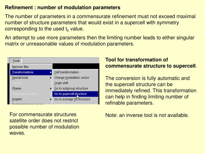 Refinement : number of modulation parameters