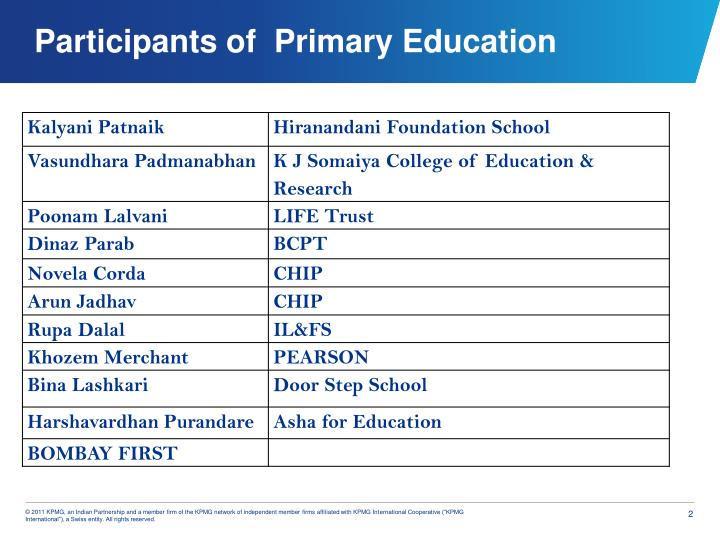 Participants of primary education