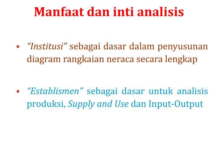Manfaat dan inti analisis