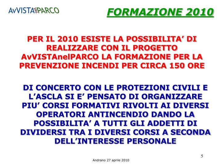 FORMAZIONE 2010