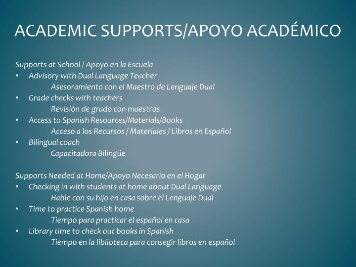 Academic supports/
