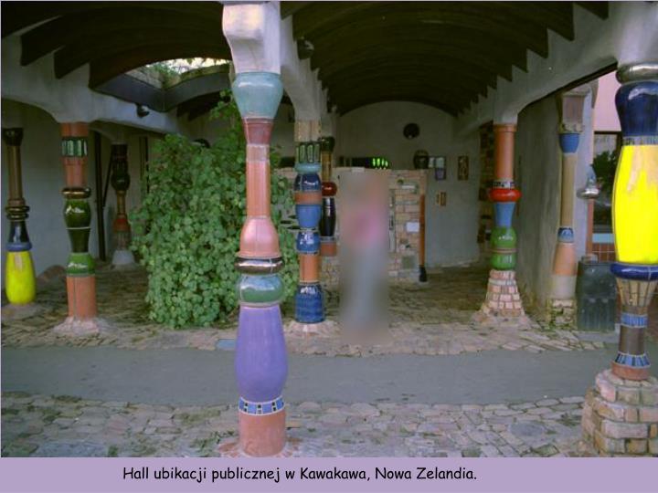 Hall ubikacji publicznej w Kawakawa, Nowa Zelandia.