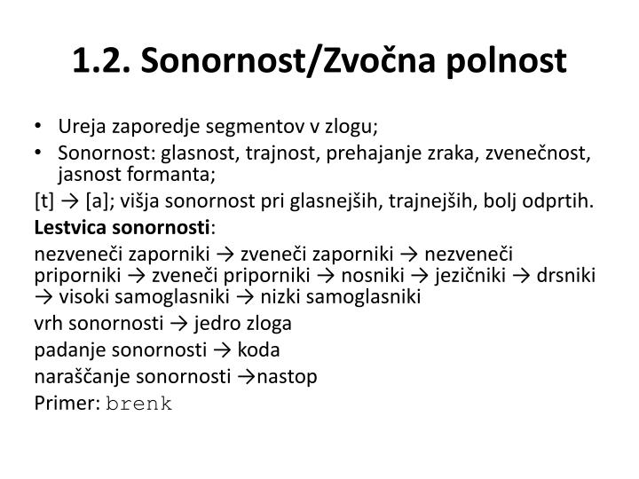 1.2. Sonornost/Zvočna polnost