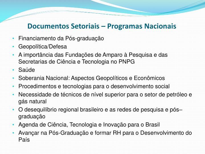 Documentos Setoriais – Programas Nacionais