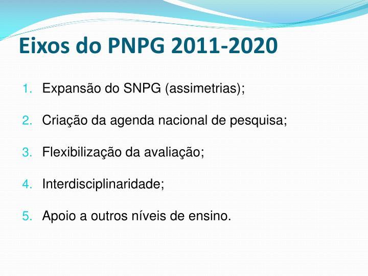 Eixos do PNPG 2011-2020