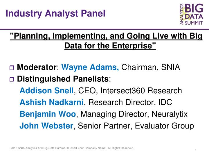 Industry analyst panel