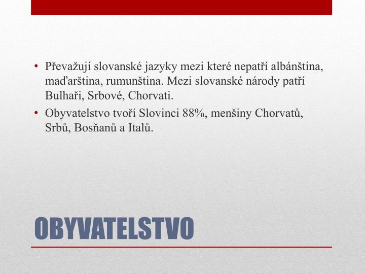 Převažují slovanské jazyky mezi které nepatří albánština, maďarština, rumunština. Mezi slovanské národy patří Bulhaři, Srbové, Chorvati.