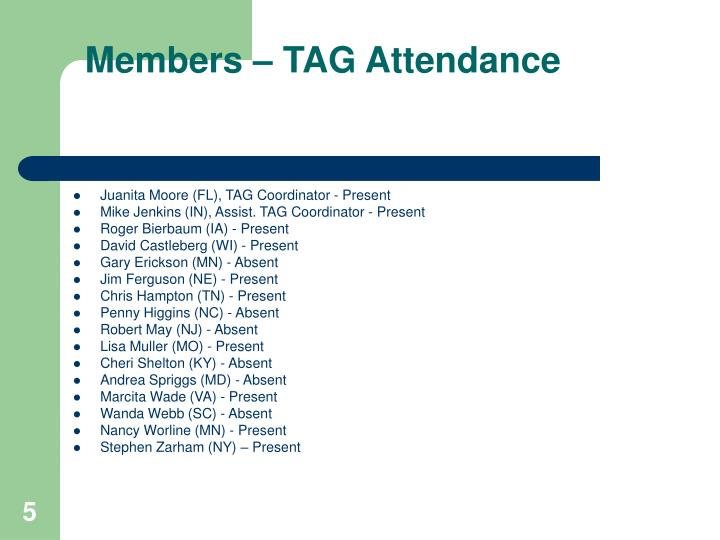 Members – TAG Attendance