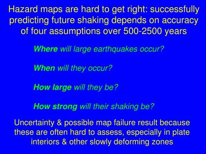 Hazard maps are hard to get right: successfully predicting future shaking depends on accuracy of four assumptions over 500-2500 years