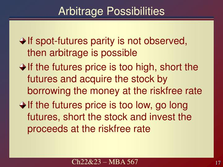 Arbitrage Possibilities