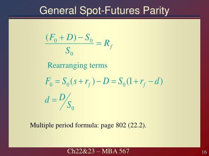 General Spot-Futures Parity