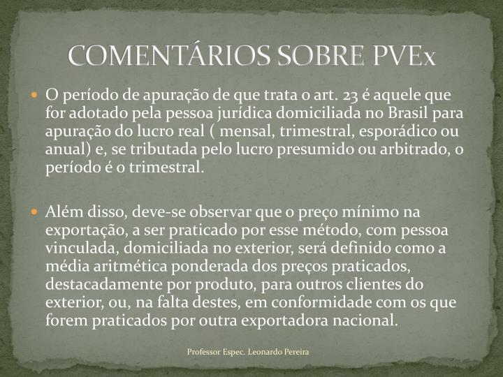 COMENTÁRIOS SOBRE
