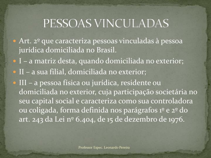 PESSOAS VINCULADAS