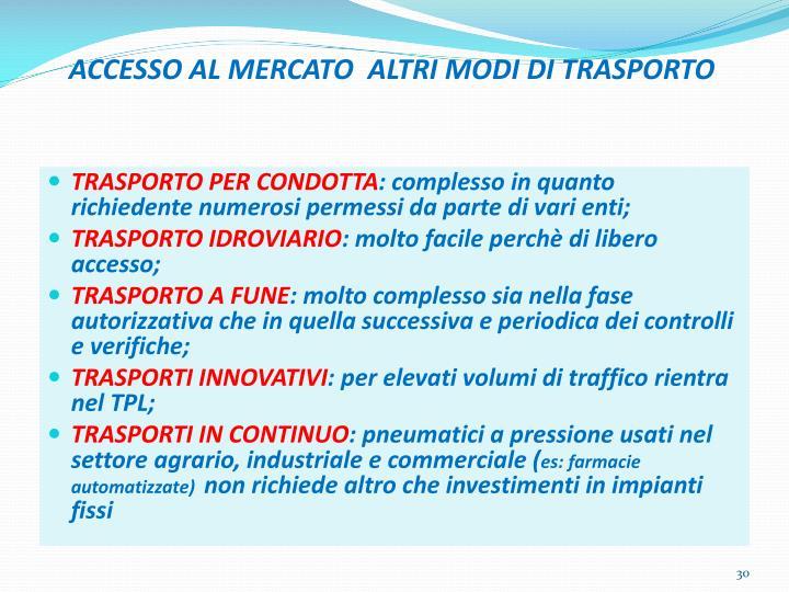 ACCESSO AL MERCATO  ALTRI MODI DI TRASPORTO