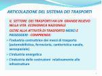 articolazione del sistema dei trasporti