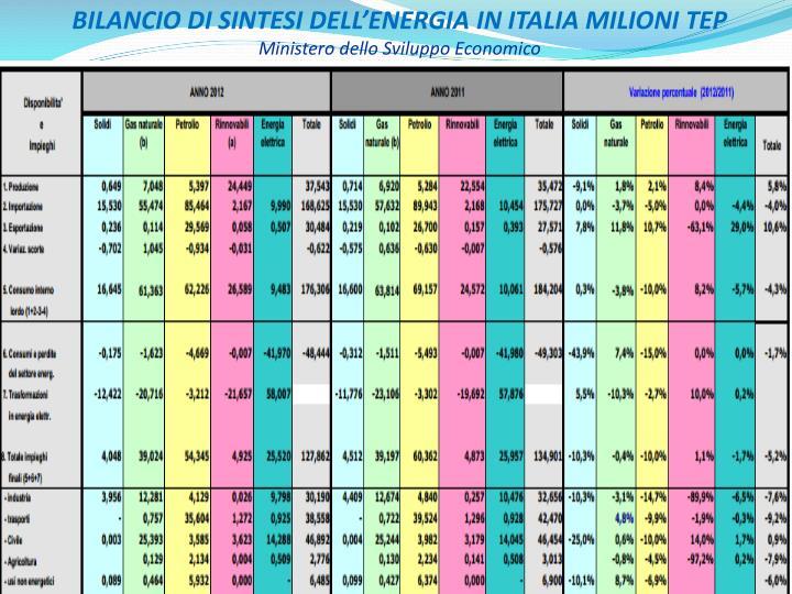 BILANCIO DI SINTESI DELL'ENERGIA IN ITALIA MILIONI TEP