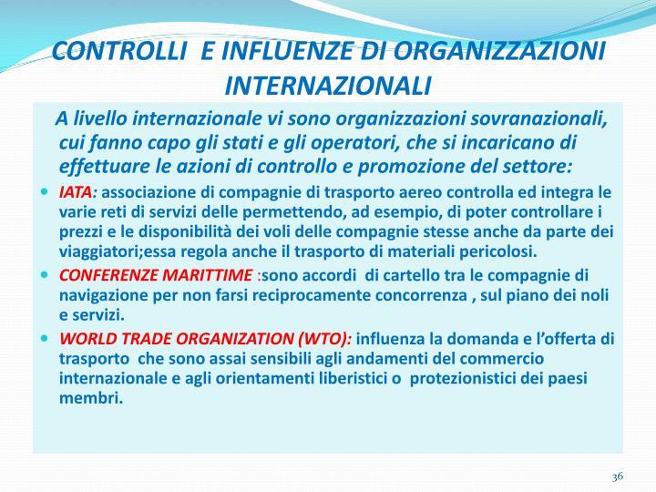 CONTROLLI  E INFLUENZE DI ORGANIZZAZIONI INTERNAZIONALI
