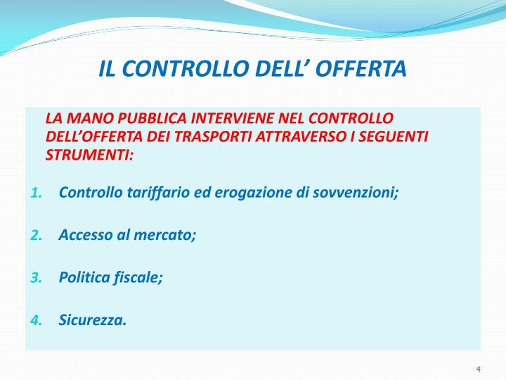 IL CONTROLLO DELL' OFFERTA