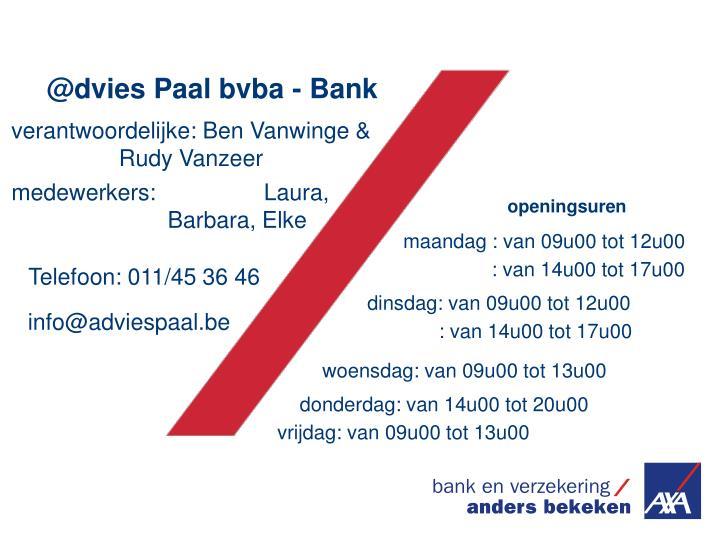 @dvies Paal bvba - Bank