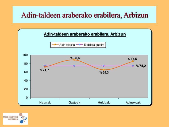 Adin-taldeen araberako erabilera, Arbizun