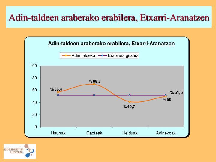 Adin-taldeen araberako erabilera, Etxarri-Aranatzen