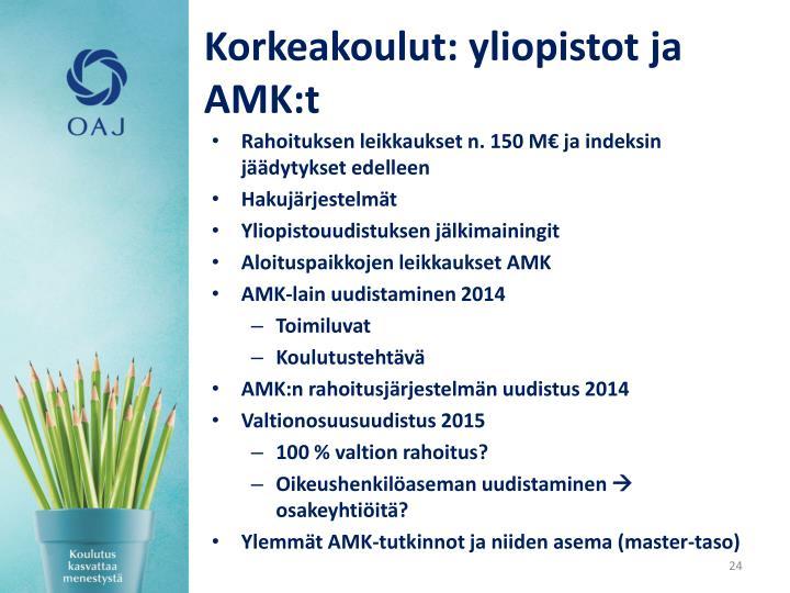 Korkeakoulut: yliopistot ja AMK:t