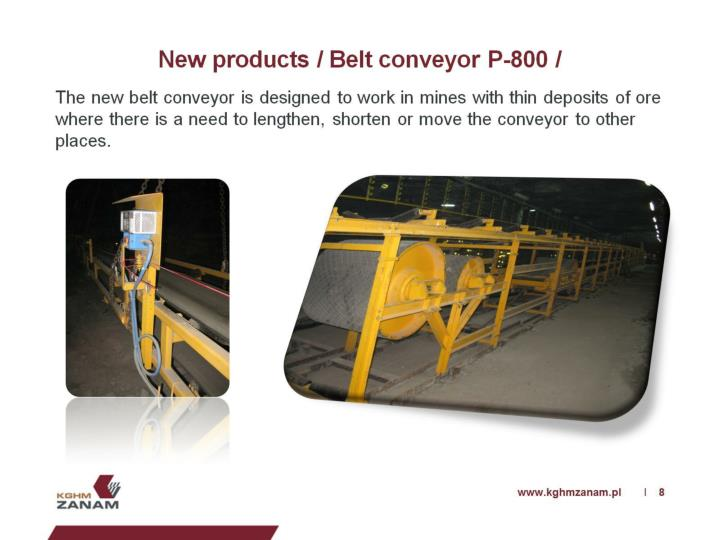 New products / Belt conveyor P-800 /