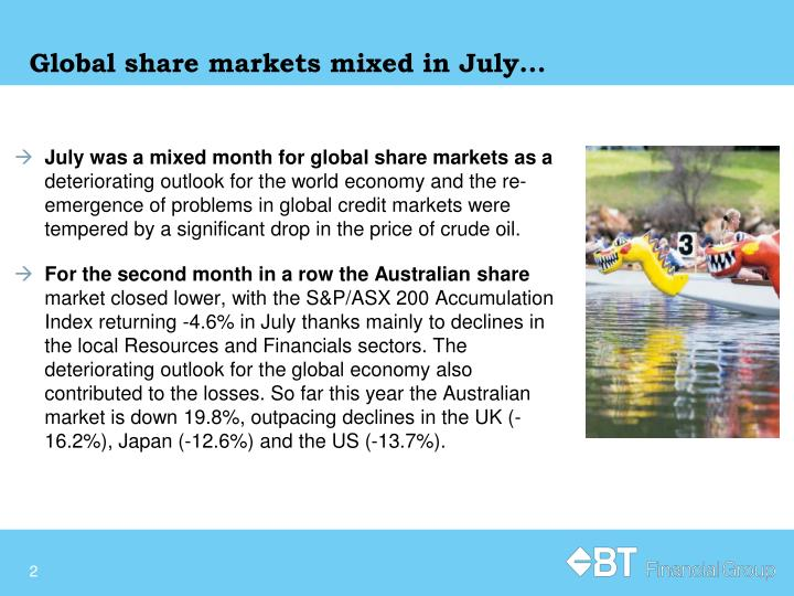 Global share markets mixed in july