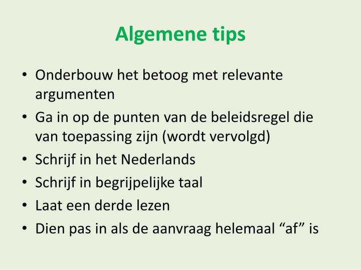 Algemene tips