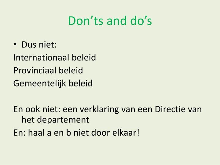 Don'ts