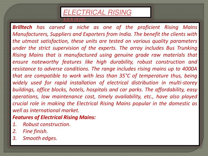 ELECTRICAL RISING MAINS