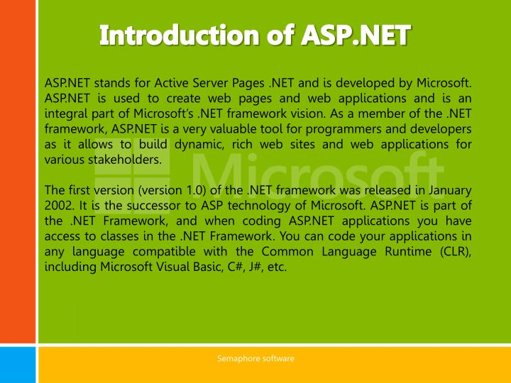Introduction of asp net