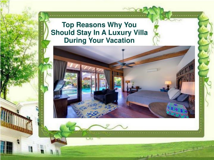 Top Reasons Why You Should Stay In A Luxury Villa During Your Vacation