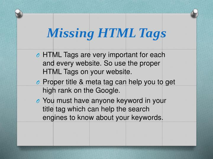 Missing HTML Tags
