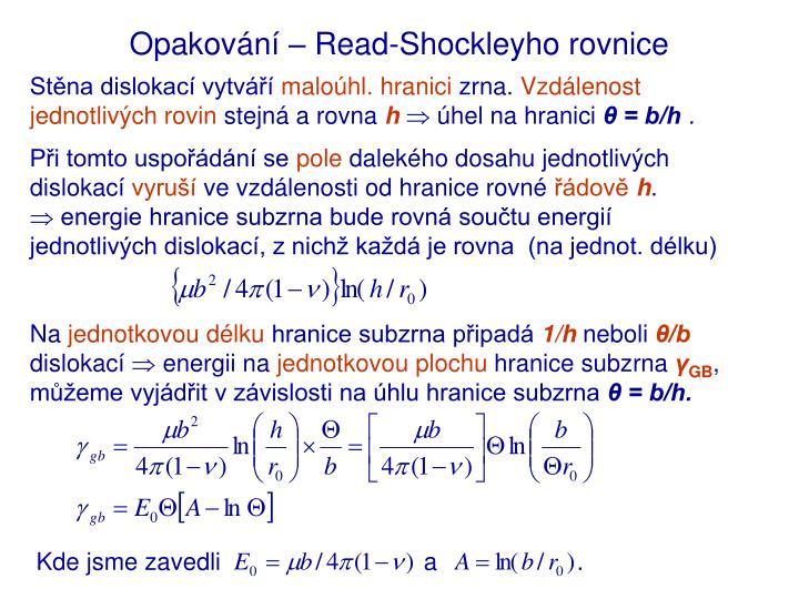 Opakování – Read-Shockleyho rovnice