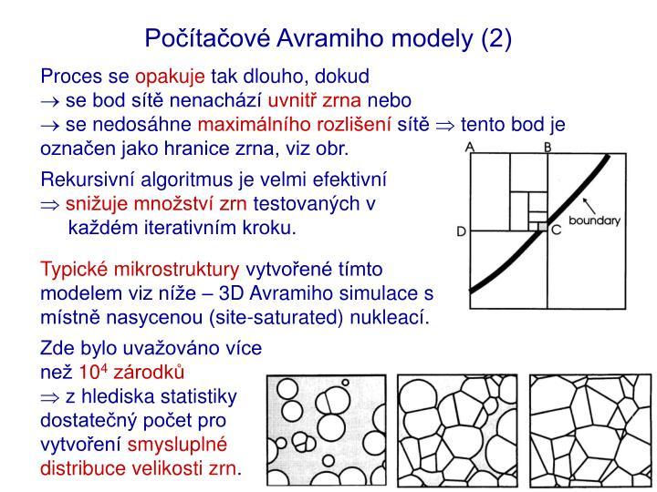 Počítačové Avramiho modely (2)