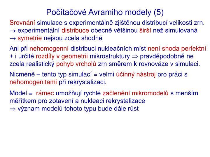 Počítačové Avramiho modely (5)