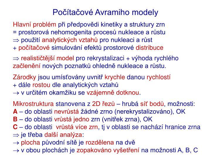 Počítačové Avramiho modely