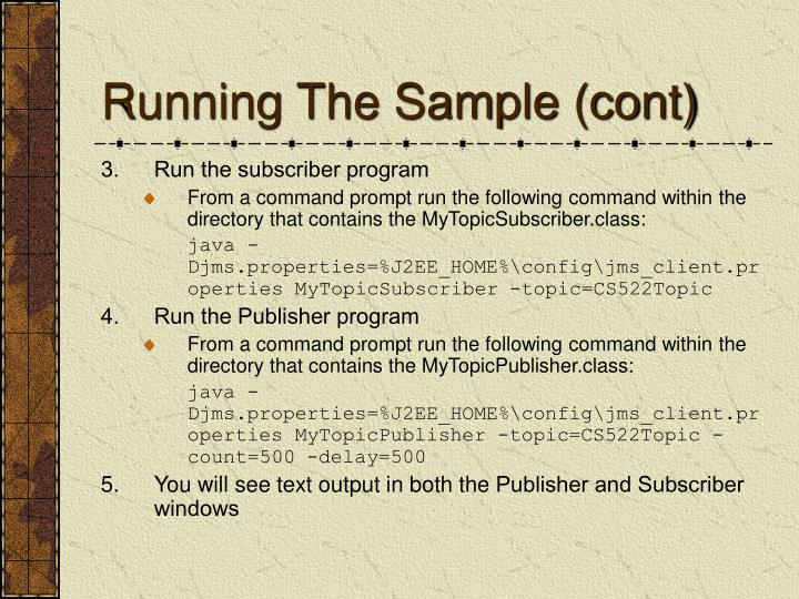 Running The Sample (cont)