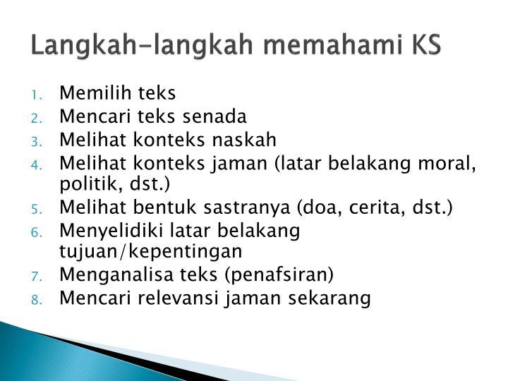 Langkah-langkah memahami KS
