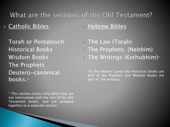What are the sections of the Old Testament?