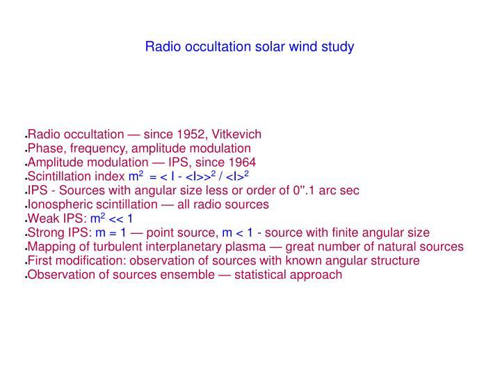 Radio occultation — since 1952, Vitkevich
