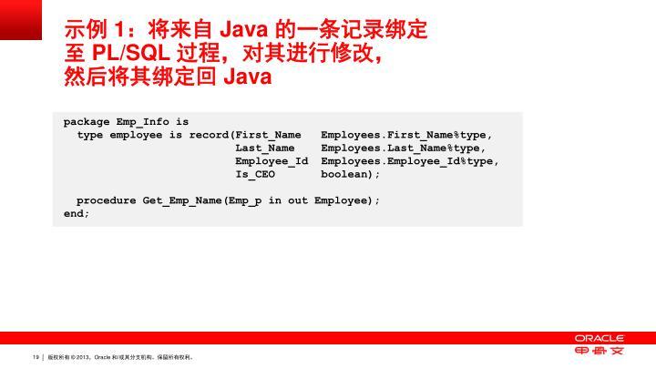 示例 1:将来自 Java 的一条记录绑定