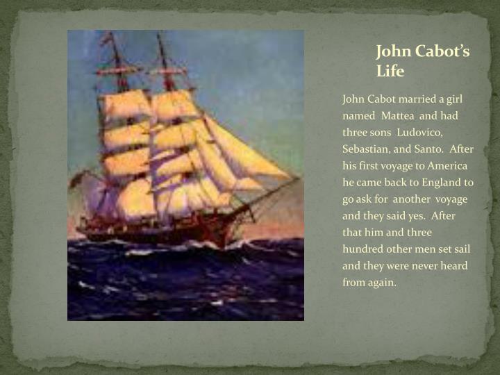 John Cabot's Life